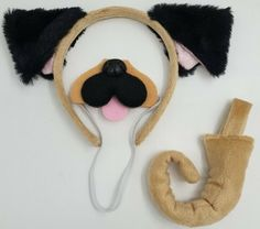Pug Dog Ears And Tail One Size Unisex Clip On Tail Black /& Cream Fur Fancy Dress