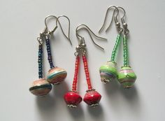 African Magazine Mixed Bead Earrings
