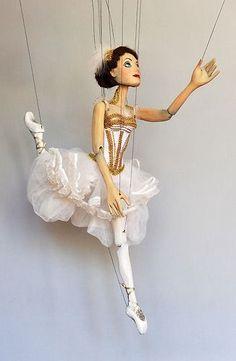 Czech wooden marionette -Ballet Dancer puppet