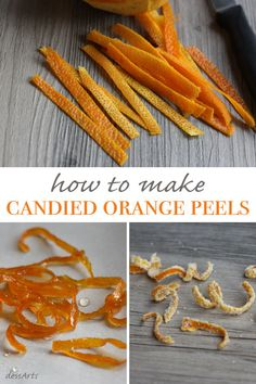 Candied orange peels make beautiful garnishes for cakes, tarts, parfaits or ice cream. You can make plain candied peels or dredge them in sugar for a crystallized look. Candy Recipes, Fruit Recipes, Sweet Recipes, Dessert Recipes, Candied Orange Slices, Candied Fruit, Candied Peel Recipe, Chutney, Orange Candy