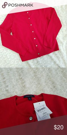 NWT Lands' End Red Button Cardigan Brand new button cardigan. Deep red in color, most accurately depicted in the picture with the price tag. Deeper red than the cover shot...I have a hard time photographing red items. Lands' End Tops