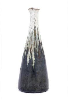 """Seto ware """"white-necked"""" sake bottle with pouring spout, circa 1850-1890, Japan"""