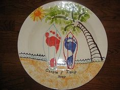 Plate idea & Handprint art. Sharpies on ceramic plate in oven at 350º for 30 min ...