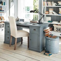 Furniture. classic light gray painted wooden executive desk with ...