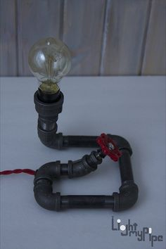 Coiled Industrial Pipe Lamp by LightMyPipe on Etsy