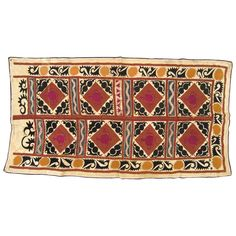 Vintage Decorative Suzani Textile | From a unique collection of antique and modern central asian rugs at https://www.1stdibs.com/furniture/rugs-carpets/central-asian-rugs/
