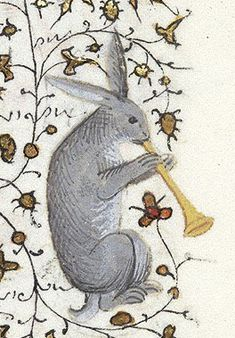 """Damien Kempf on Twitter: """"Rabbit playing the trumpet (@MorganLibrary, MS M 1004) https://t.co/wOnr6EXTZx"""""""