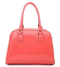 CORAL - Classic Cora Plain Patent Tote Handbag With Straight Lining Detail - The Handbag Hut