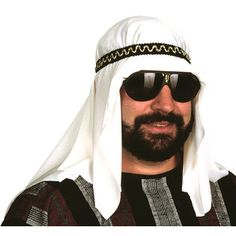 Costumes for Men - This Arab Sheik costume headpiece includes a headpiece with elastic band. This Sheik costume headpiece fits most sizes. This Sheik costume headpiece will compliment any Arabian costume. Sunglasses and facial hair not included. Teen Boy Costumes, Halloween Costumes Kids Boys, Adult Costumes, Costume Hats, Costume Shop, Aladdin Costume, Costume Craze, Handsome Arab Men, Sheik