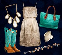 Cowgirl Concert Outfit | White Dress with Blue Cowboy Boots Country Concert Outfit