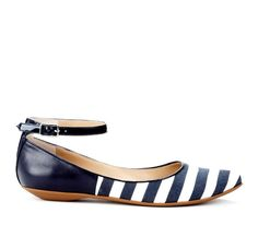 blue and white striped ballet flat with ankle strap