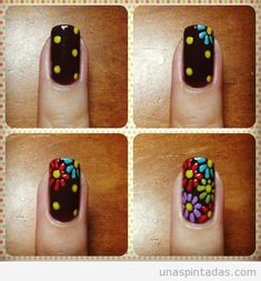See more about flower nail art, flower nail designs and nail art tutorials. Get Nails, Fancy Nails, How To Do Nails, Pretty Nails, Hair And Nails, Flower Nail Designs, Flower Nail Art, Nail Art Designs, Nails Design