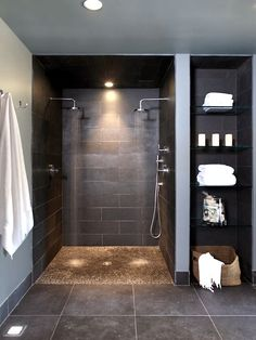 Doorless Shower Designs Teach You How To Go With The Flow Bathroom Spa Bathroom Design, Pictures, Remodel, Decor and Ideas - page nachher Verweis Badezimmer Aufbewahrungslö. Spa Bathroom Design, Bathroom Spa, Bathroom Renos, Bathroom Layout, Bathroom Plumbing, Bath Design, Budget Bathroom, Tile Design, Vanity Bathroom
