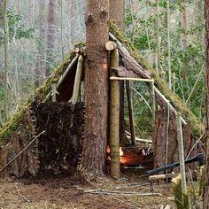 Another home     Photo: @bandlbushcraft  #qualitytime #naturalshelter #aframe…