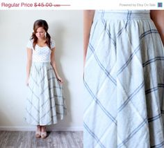 25% OFF SPRING SALE Vintage Small// Boho classic wool cream tan plaid skirt// long plaid skirt// a-line skirt// full skirt// circle skirt