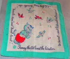 Childrens 1950's vintage handkerchief with by allthingsoldarenew, $15.00