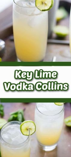 A Vodka Collins with the tangy, summery taste of key limes! This cocktail is the quintessential summer cocktail! It is crisp, refreshing, and delicious! Key Lime Vodka, Summer Cocktails, Cocktail Drinks, Cocktail Recipes, Drink Recipes, Easy Cocktails, Holiday Drinks, Party Drinks, Margaritas