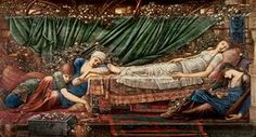 'The Briar Rose' Series, 4: The Sleeping Beauty, 1870-90 (oil on canvas)RA11917 'The Briar Rose' Series, 4: The Sleeping Beauty, 1870-90 (oil on canvas) by Burne-Jones, Edward Coley (1833-98); 122x229 cm; Faringdon Collection, Buscot, Oxon, UK; English, out of copyright