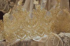 light gold alencon lace trim, bridal veil lace by lacetime on Etsy https://www.etsy.com/listing/207589020/light-gold-alencon-lace-trim-bridal-veil