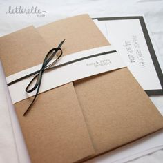 Items similar to Classy Kraft Simple Wedding Invitation, with Pocket on Etsy Paper Bag Design, Pocket Invitation, Envelope Design, Photography Packaging, Unique Wedding Invitations, Album Design, Book Binding, Creative Gifts, Wedding Cards
