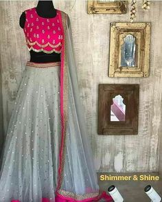 Pink and grey lehenga