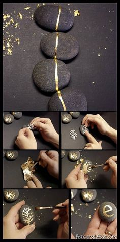 diy stone painting and art l with leaf metal and golden .- diy Steinmalerei und Kunst l mit Blattmetall und goldenen Farbsteinen diy stone painting and art l with leaf metal and golden color … – Projectgardendiy …. Gold Diy, Gold Leaf Jewelry Diy, Rock Crafts, Arts And Crafts, Diy Crafts, Paper Crafts, Stone Crafts, Creation Deco, Rock Design