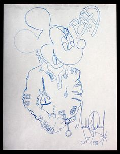 Mickey Mouse Pencil Drawing from the Michael Jackson collection at Julien's Auctions Pyt Michael Jackson, Michael Jackson Painting, Michael Jackson Drawings, Michael Jackson Quotes, Lisa Marie Presley, Paris Jackson, Elvis Presley, Original Mickey Mouse, Bad Drawings