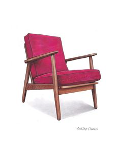 Mid Century Modern Danish Teak Chair Drawing, Raspberry Pink - 8x10