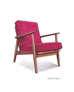Mid Century Modern Danish Teak Chair Drawing, Raspberry Pink - 8x10 on Etsy, $30.30 AUD