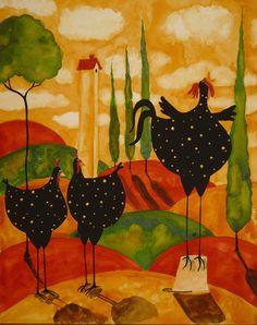 Hubbs Children Art Folk Prints Fowls Chickens Rooster by DebiHubbs