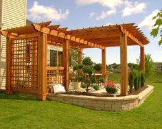Custom all Cedar Pergola designed and built by John A. Poulakos LD Valley of Wisconsin. Designed to fit over existing patio and later landscaped by others. Awesome Clients reside in Pleasant Prairie, WI. Pergola Ideas For Patio, Patio Plans, Cedar Pergola, Backyard Patio Designs, Pergola Designs, Backyard Landscaping, House 2, Outdoor Rooms, Outdoor Living