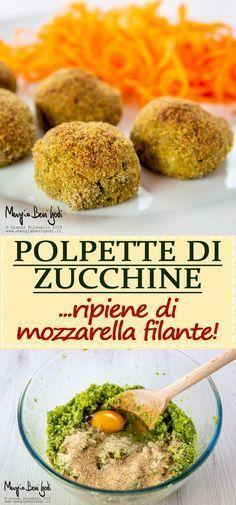 Zucchini balls stuffed with stringy mozzarella. A really tasty vegetarian recipe. Tasty Vegetarian Recipes, Baby Food Recipes, Gourmet Recipes, Cooking Recipes, Healthy Recipes, Mozzarella, Baby Food Vegetables, Biscotti, Nutella