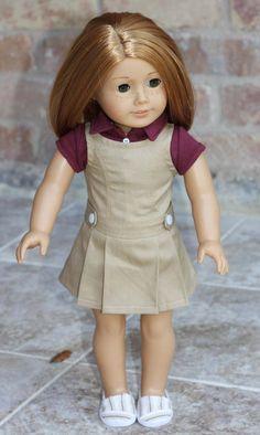 American Girl, 18 inch doll Jumper - Khaki by MaddiesGirls on Etsy