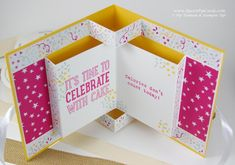 Book Pop Up Card http://www.queenpipcards.com/pop-up-part-2-with-stampin-up-products/ Pip Todman Queen Pip Cards Instructions and video on my blog It's My Party Stampin' Up!