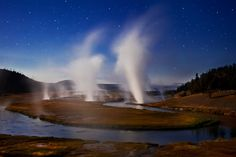 Midway By Moonlight   Midway Geyser Basin And Firehole River Under The Light Of A Full Moon   Yellowstone National Park   Wyoming   Photo By Richard  Bernabe