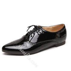 Shoespie - Shoespie Pointed Toe Solid Color Lace-Up Flats - AdoreWe.com