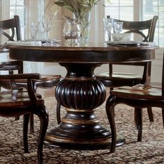 Pedestal Dining Table In Contrasting Cherry And Black Rub Through With An  Ornately Detailed Based