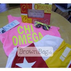 Chi Omega Bid Day packages available online or in stores today! Bid Day Gifts, Chi Omega, Online Gifts, Sorority, Packaging, Wrapping