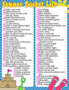 diy home sweet home: Summer Bucket List Printable