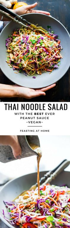 Thai Noodle Salad with Peanut Sauce and Sesame Ginger Tofu. Vegan and Gluten-free| www.feastingathome.com