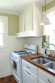 Bead board as backsplash - Love it for both kitchen and laundry