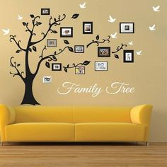 Picture Frame Family Tree Wall Art, Tree Decals     Trendy Wall Designs