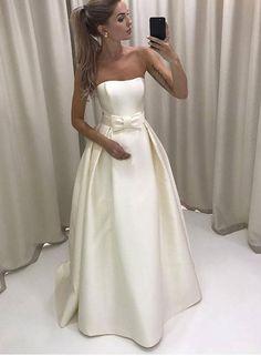 White Strapless A Line Wedding Dress,Bowknot Satin Long Pleated Evening Dress