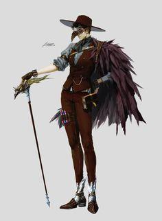 ArtStation - Black Wizard, pilyeon . Fantasy Character Design, Character Design Inspiration, Character Concept, Character Art, Concept Art, Steampunk Characters, Fantasy Characters, Anime Wizard, Wizard Costume