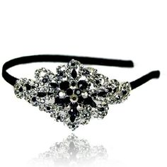 Prom Collection Crystal Romance Hairband Black Diamond - 4EverBling