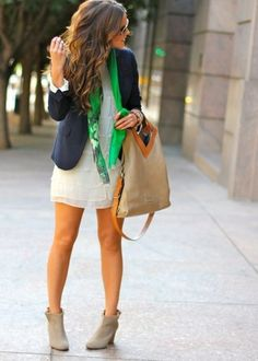 67ad17f1745cbd Courtney Kerrs Nautical look with the perfect pop of green color and added  neutrals Dress Boots