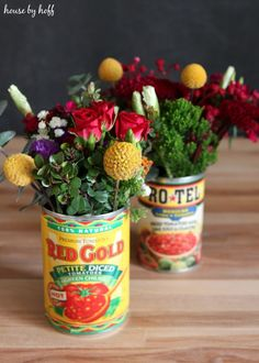 Great Cinco De Mayo Idea! Flowers in a Tomato Can via House by Hoff5