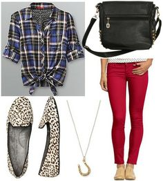 Dark Tied Plaid Button Up Shirt + Red Skinny Jeans + Leopard Loafers + Black Studded Bag + Necklace weeee! Plaid Shirt Outfits, Hot Outfits, Pretty Outfits, Fall Outfits, Casual Fashion Trends, Red Skinny Jeans, College Fashion, Leopard Loafers, Studded Bag