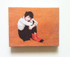 red boots-  Jenny / Tiny canvas print   -Portrait print painting -Print of Original acrylic painting -CANVAS ART PRIN-  wall hanging on Etsy, $20.00