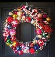 "Vintage Christmas Ornament Wreath Stencil Shiny Brite Indent 23"""